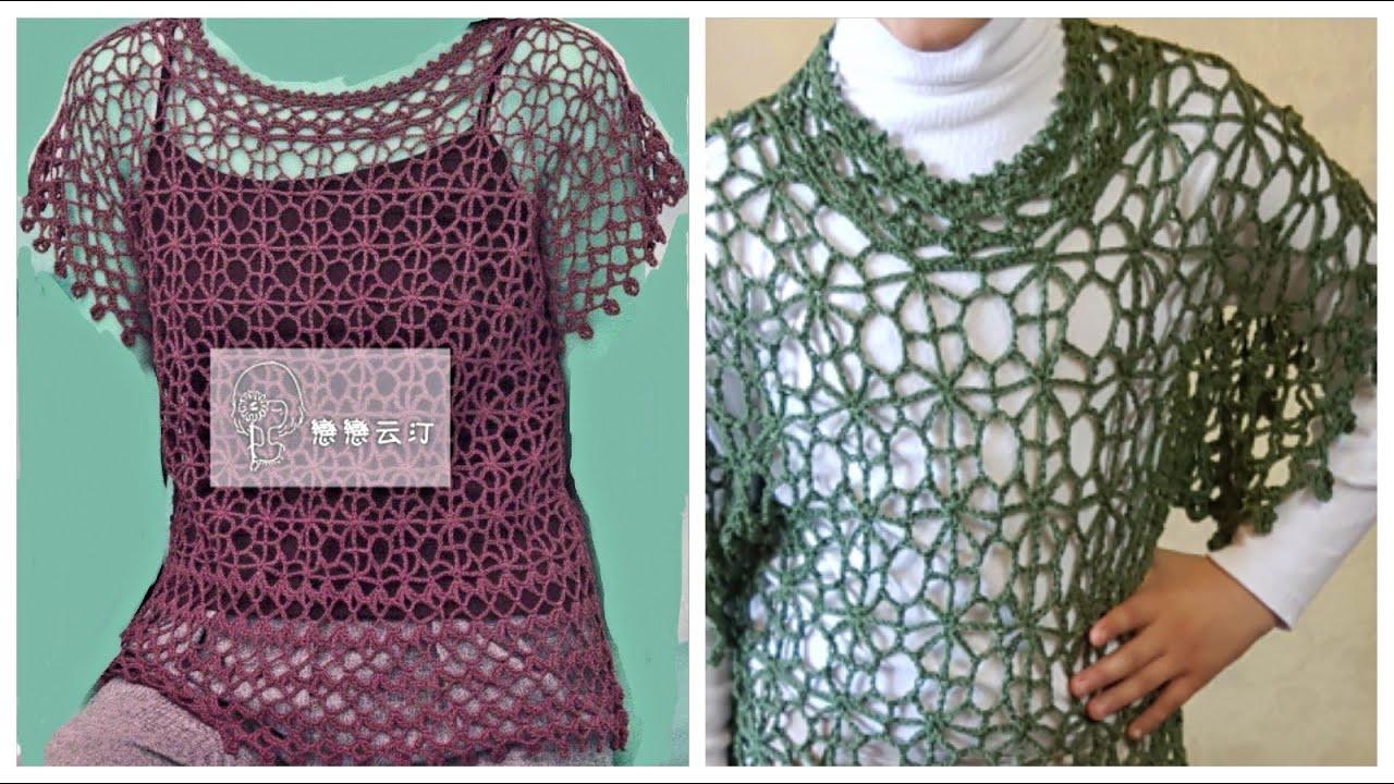 بلوزه صيفي / فستان / بالكروشيه و بالتفصيل خطوه خطوه الجزء الأول 1/3 Crochet  dress shirt  YouTube