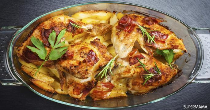صينية دجاج بالبطاطس و البصل المحمرين بالفرن و لا اروع